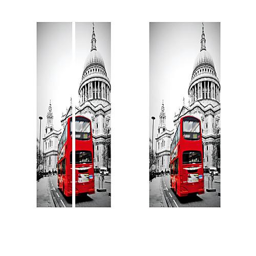 3d-эффект стикер двери росписи искусства обои винтаж красный автомобиль улица номер diy стикер стены наклейки главная ворота декор паста
