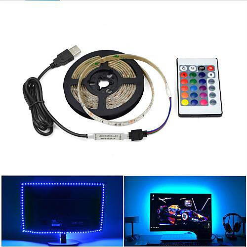 1set USB LED Strip Lamp 2835SMD DC5V Flexible LED Light Tape Ribbon 1M HDTV TV Desktop Screen Background Bias Lighting
