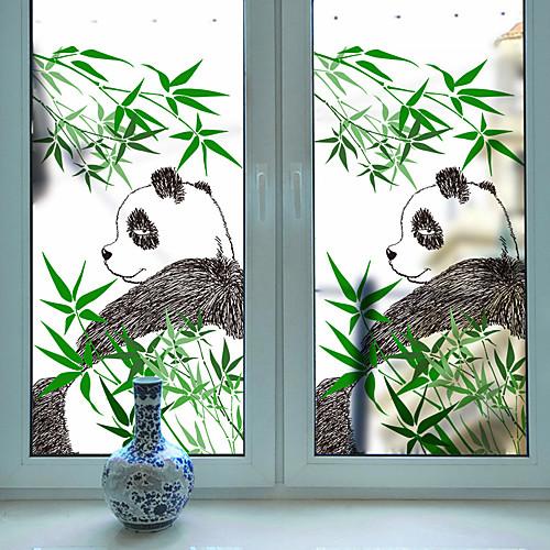 милая панда бамбук подвижная оконная пленка пвх&усилитель; наклейки украшения геометрические