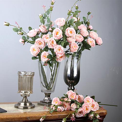Искусственные Цветы 1 Филиал Классический европейский Простой стиль Розы Камелия Вечные цветы Букеты на стол