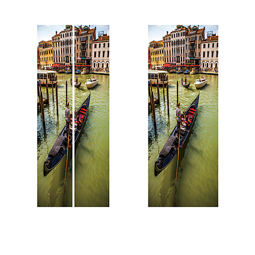 Creative diy 3d-эффект дверные наклейки городской воды шаблон для украшения стены комнаты домашнего декора аксессуары стикер стены