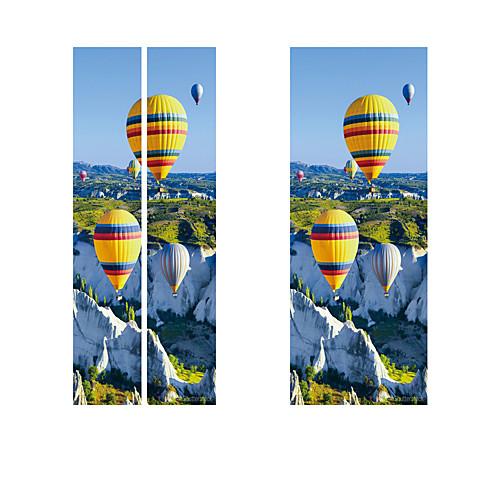 Creative diy 3d-эффект дверные наклейки ущелье воздушный шар шаблон для украшения стены комнаты домашнего декора аксессуары стикер стены