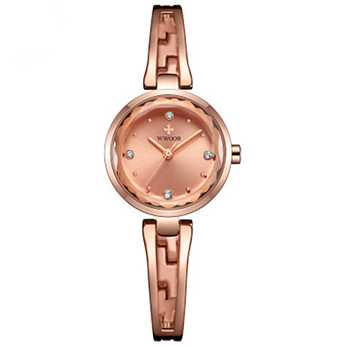 WWOOR Women's Quartz Watches Outdoor Fashion White Gold Candy Pink Stainless Steel Japanese Quartz Gold White Blushing Pink Water Resistant / Waterproof New Design Casual Watch 30 m 1 pc Analog Two