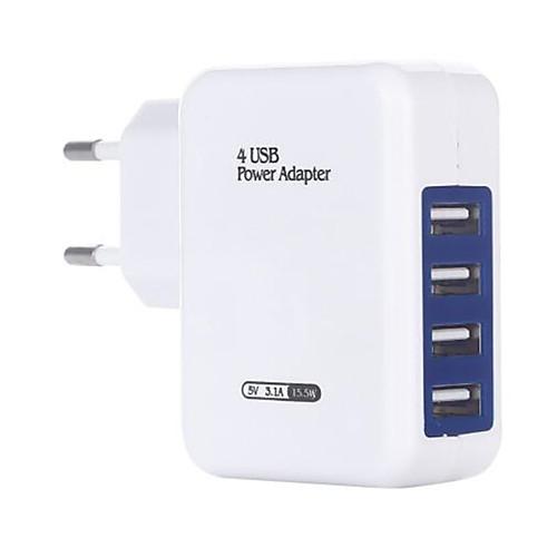 Быстрое зарядное устройство / Портативное зарядное устройство Зарядное устройство USB Евро стандарт Несколько разъемов / QC 3.0 4 USB порта 3.1 A 100~240 V для Универсальный фото