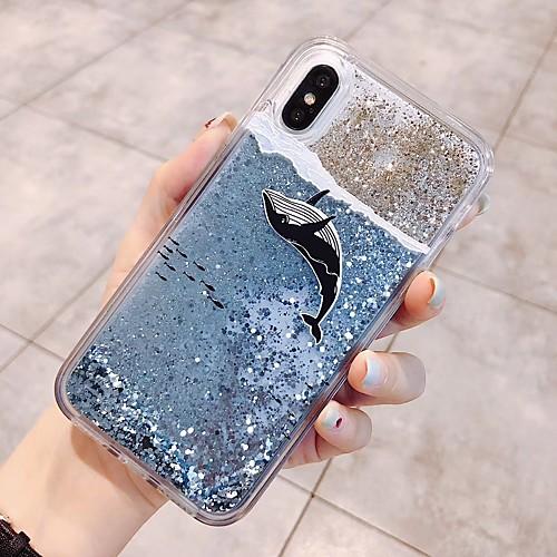 Кейс для Назначение Apple iPhone X / iPhone 6 Движущаяся жидкость / Сияние и блеск Кейс на заднюю панель Животное / Мультипликация Мягкий ТПУ для iPhone X / iPhone 8 Pluss / iPhone 8