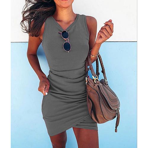 miniinthebox / Mulheres 2020 Fúcsia Verde Vestido Moda de Rua Primavera Verão Para Noite Tubinho Sólido Decote V S M Delgado