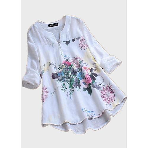 Жен. С принтом Рубашка Цветочный принт Белый XXXL фото