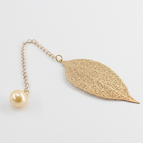 Fashion Alloy / Imitation Pearl Pandent Leaf Bookmark For Office Leisure Stationery