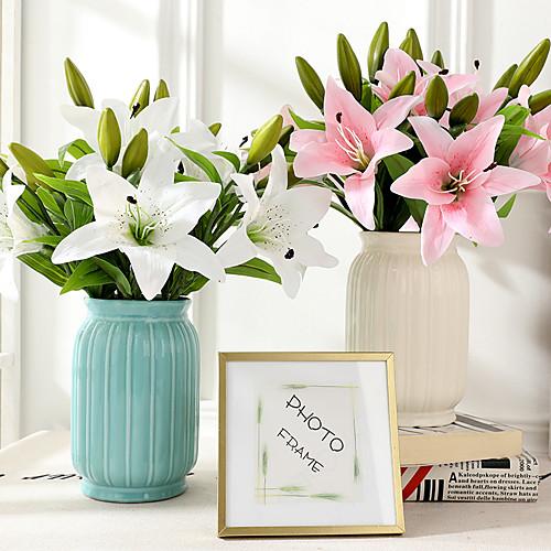 Искусственные Цветы 3 Филиал Классический европейский Простой стиль Лилии Вечные цветы Букеты на стол