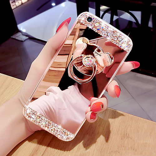Phone Case Mirror Surface Phone Case With Bear Shaped Ring &amp Stand For iPhone 5/6/6P/7/7P/8/8P/X/XS/XR/XS MAX