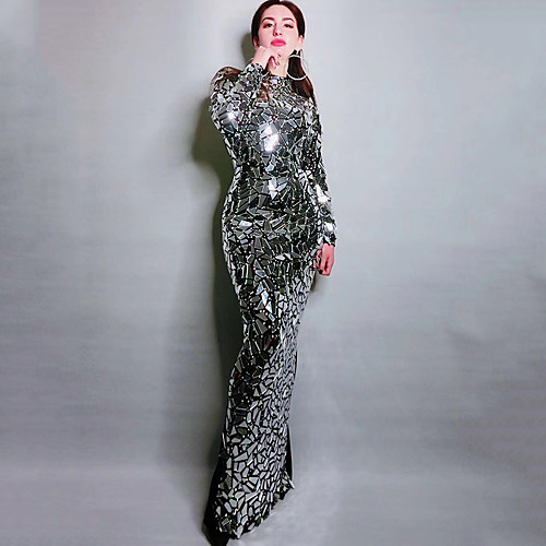Exotic Dancewear Rhinestone Bodysuit / Club Costume Women's Performance Spandex Crystals / Rhinestones / Paillette Long Sleeve Dress