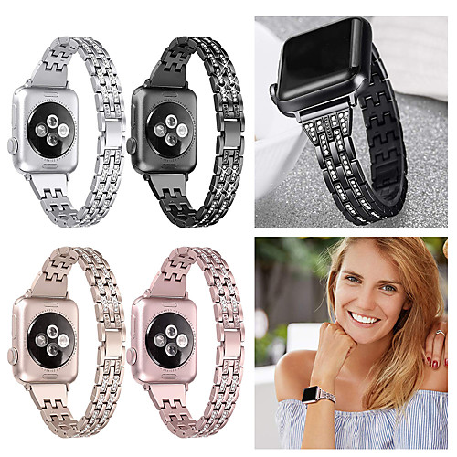 Watch Band For Apple Watch 40mm 44mm 38mm 42mm Women Diamond Band for Apple Watch Series 4 3 2 1 iWatch Bracelet Stainless Steel Strap Wristband