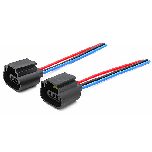 2pcs H13 Headlight Assembly Female Socket Plug Adapter Extension Wire Connector with Line