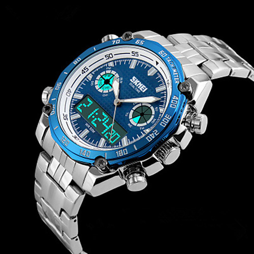 SKMEI Men's Steel Band Watches Japanese Quartz Stainless Steel Silver 30 m Water Resistant / Waterproof Calendar / date / day Chronograph Analog - Digital Casual Outdoor - Gold Black Blue Two Years