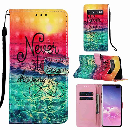 Case For Samsung Galaxy S8 Plus / S9 Plus Pattern / Flip / with Stand Full Body Cases Cartoon / Word / Phrase Hard PU Leather for Galaxy S10 / Galaxy S10 Plus / Galaxy S10 E