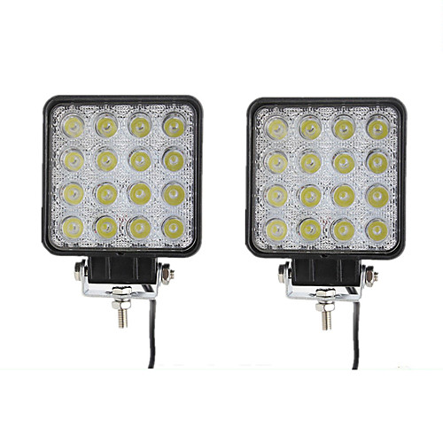 2pcs 48W Flood LED Offroad Work Light Lamp 12V 24V Car Boat Truck Driving