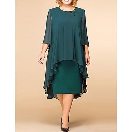 Women's Elegant Loose Shift Dress - Solid Colored Floral Lace Print Lace Green S M L XL