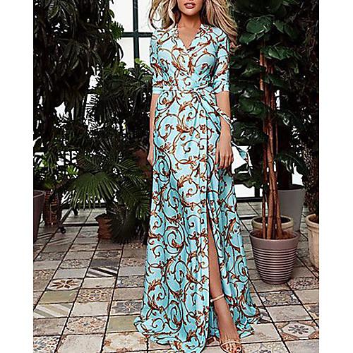 Women's Vacation Maxi Swing Dress - Geometric Print V Neck Spring Blue M L XL