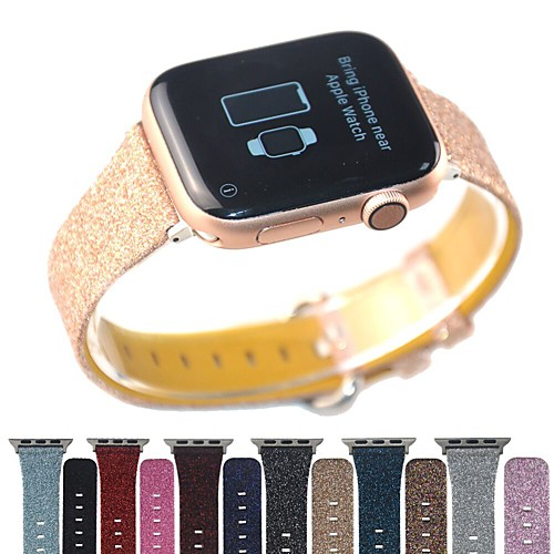 Bling Glitter Genuine Leather Band For Apple Watch 40mm/44mm/42mm/38mm Bracelet For IWatch Series 5/4/3/2/1 Wristband