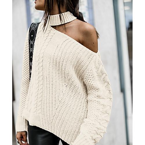 miniinthebox / Damen Solide Langarm Lose Pullover Pullover Jumper, Halter Schwarz / Weiß / Rote M / L / XL