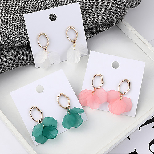 Women's Drop Earrings Earrings Stack Flower Petal Simple Korean Sweet Fashion Cute Earrings Jewelry Green / White / Pink For Party Anniversary Gift Daily Holiday 1 Pair