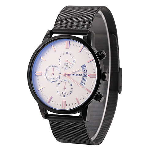 SHI WEI BAO Men's Sport Watch Military Watch Quartz Vintage Style Stainless Steel Black 30 m Calendar / date / day Stopwatch Casual Watch Analog Fashion - Black Golden White One Year Battery Life