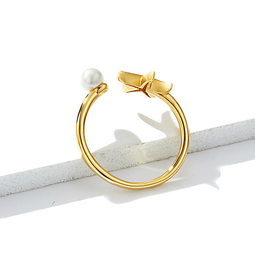 Women's Ring Open Ring Pearl 1pc Gold S925 Sterling Silver Sweet Daily Jewelry
