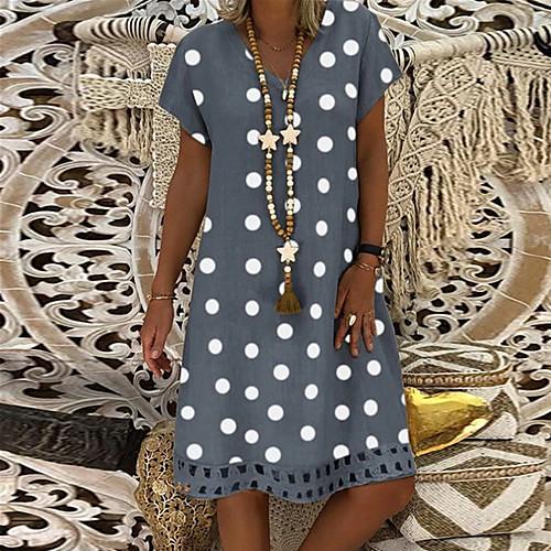 miniinthebox / Mulheres Vintage Básico Bainha Vestido Poá Altura dos Joelhos