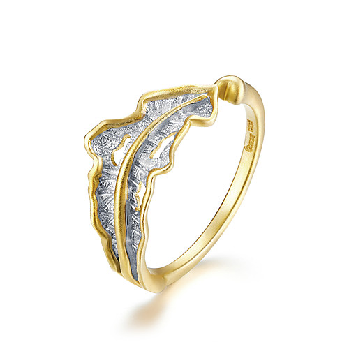 Vintage Fallen Leaf Open Finger Ring 925 Sterling Silver Engrave Pattern Rings for Women Gold Color Jewelry