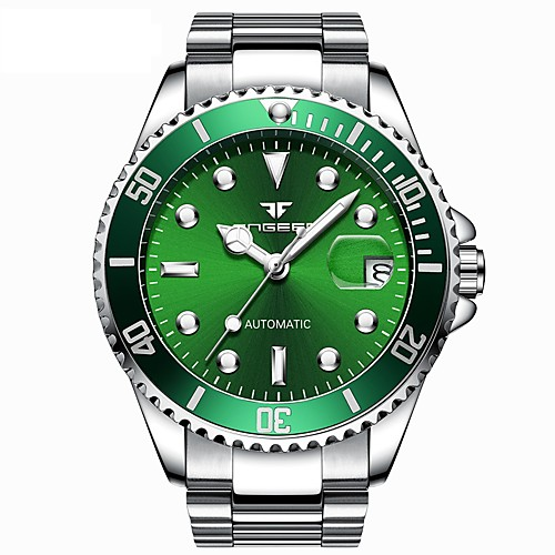 Men's Mechanical Watch Automatic self-winding Formal Style Modern Style Stainless Steel Silver 50 m Water Resistant / Waterproof Noctilucent Analog Luxury Fashion - Black Green Blue