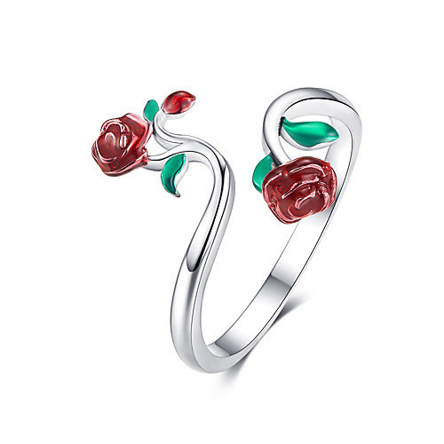 Rose open ring lady 925 sterling silver adjustable ring
