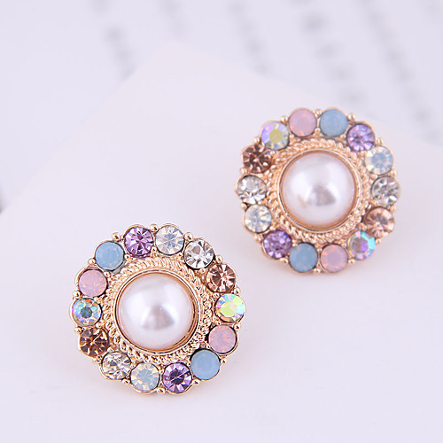 Women's Stud Earrings Earrings Round Cut Princess Korean Sweet Fashion Cute Elegant Imitation Pearl Imitation Diamond Earrings Jewelry Gold For Anniversary Engagement Gift Daily Prom 1 Pair