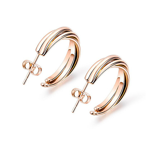 Women's Stud Earrings Classic Letter Sweet Hippie Cool Stainless Steel Earrings Jewelry Rose Gold For Stage Street Bar 1 Pair