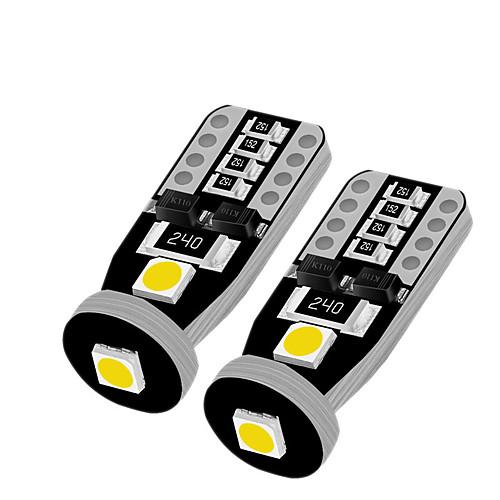 10PCS 5W 12V T10 3SMD 5050 LED Canbus Error Free Interior Light Lamp Bulb White