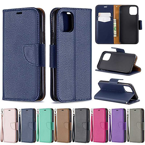 Case For Apple iPhone 11 / iPhone 11 Pro / iPhone 11 Pro Max Wallet / Card Holder / with Stand Full Body Cases Solid Colored PU Leather