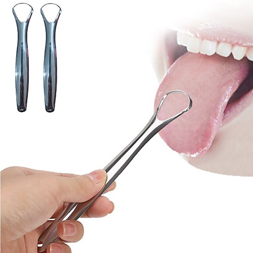 2PC Useful Tongue Scraper Stainless Steel Oral Tongue Cleaner Medical Mouth Brush Reusable Fresh Breath Maker
