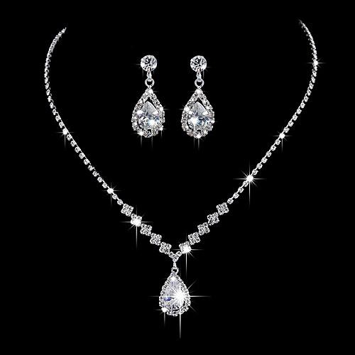 Women S Necklace Earrings Tennis Chain Drop Simple Korean Sweet