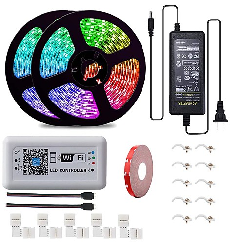 Alexa WiFi Wireless Smartphone App Control 32.8ft 600LEDs IP65 Waterproof 5050RGB Flexible Multi Color Changing Light Strip Compatible with Android//iOS System LED Strip Lights