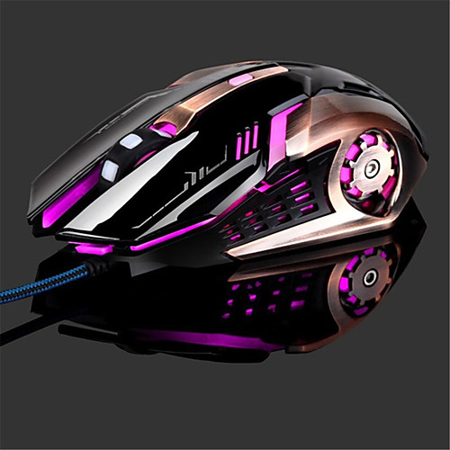 LITBest T02 Wired USB Optical Gaming Mouse / Ergonomic Mouse Multi-colors Backlit 4800 dpi 4 Adjustable DPI Levels 6 pcs Keys