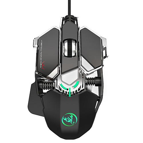 HXSJ J600 Wired USB Optical Gaming Mouse / Office Mouse Multi-colors Backlit 6400 dpi 4 Adjustable DPI Levels 9 pcs Keys 9 Programmable Keys