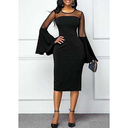 Women's Elegant Sheath Dress - Solid Colored Black Wine Purple S M L XL