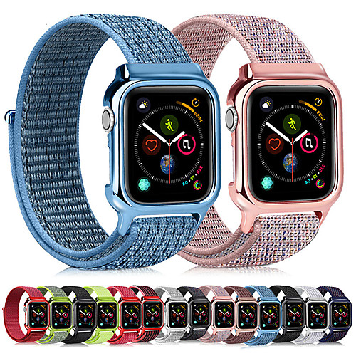 Nylon Loop Wrist Strap Band With Case For Apple Watch Series 5/4/3/2/1 Replacement Band PC Protective Case 38mm 40mm 42mm 44mm
