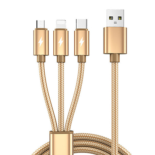 3 in 1 USB to Micro USB Type C Lightning Cable