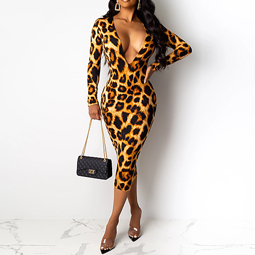 miniinthebox / Mujer Chic de Calle Elegante Corte Bodycon Vaina Vestido - Estampado, Geométrico Leopardo Midi