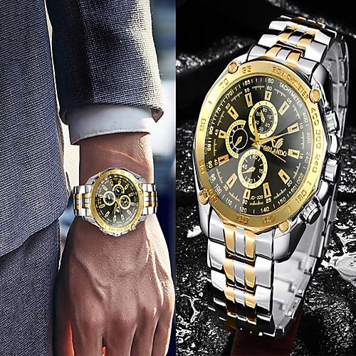 Men's Steel Band Watches Quartz Casual Watch Cool Analog Luxury Fashion - Gold / White Golden GoldenBlack