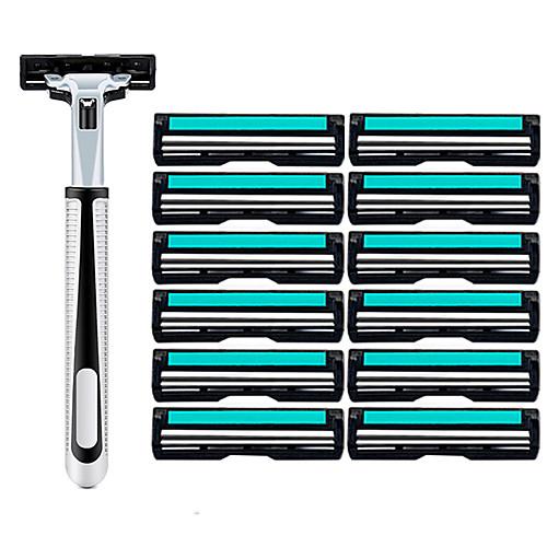 13pcs Razor Set Men Face Shaving Double Layers 12 Razors Blades Male Manual Standard Beard Shaver Trimmer