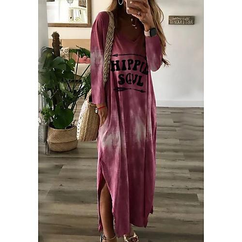 miniinthebox / Mulheres Longo Solto Vestido - Manga Longa Estampado Decote V Solto Rosa Khaki Verde Cinzento S M L XL XXL
