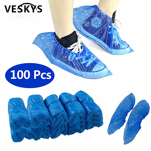 VESKYS 100Pcs Disposable Plastic Anti Slip Boot Safety Shoe Cover Cleaning Plastic Over Shoes Shoe Boot Covers Carpet Protectors