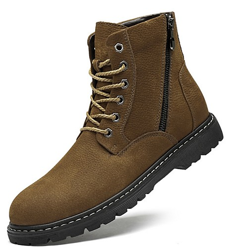 Men's Summer Outdoor Boots Cowhide Non-slipping Mid-Calf Boots Black / Khaki