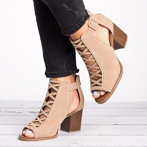Women's Sandals Summer Chunky Heel Peep Toe Daily PU Black / Khaki
